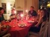 Juldagskvällen tillbringar vi hos grannarna med rester från båda hushållen.