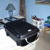 Utnyttjar tvättkorgen för att transportera galjar...