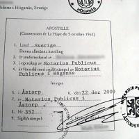 En sk Haag Apostille-stämpel utfärdad av Notarius Publicus